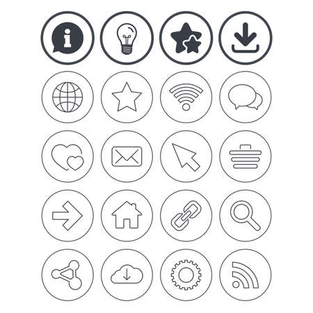 Information, light bulb and download signs. Internet and Web icons. Wi-fi network, favorite star and internet globe. Hearts, shopping cart and speech bubbles. Share, rss and link symbols. Vector Illustration