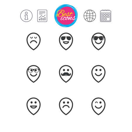 Information, report and calendar signs. Smile pointers icons. Happy, sad and wink faces signs. Sunglasses, mustache and laughing lol smiley symbols. Classic simple flat web icons. Vector Illustration