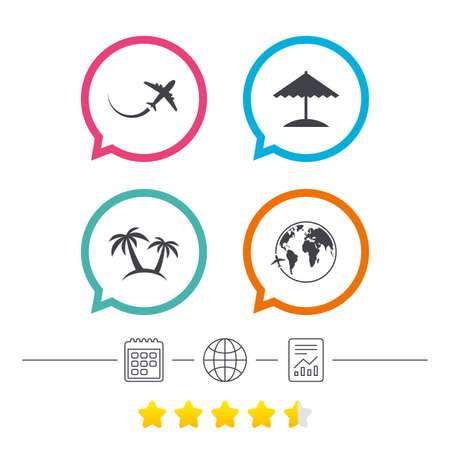 Travel Trip Icon Airplane World Globe Symbols Palm Tree And