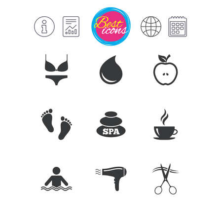 barbershop: Information, report and calendar signs. Spa, hairdressing icons. Swimming pool sign. Lingerie, scissors and hairdryer symbols. Classic simple flat web icons. Vector Illustration