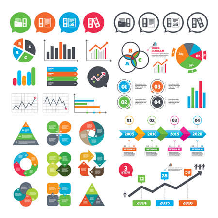 Business charts. Growth graph. Accounting report icons. Document storage in folders sign symbols. Market report presentation. Vector Vektorové ilustrace