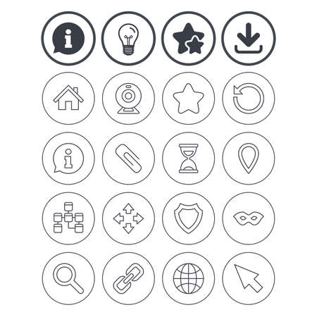 Information, light bulb and download signs. Web elements icons. Paperclip, video camera and information speech bubble. Database, anonymous mask and secure shield. Best quality star symbol. Vector Çizim