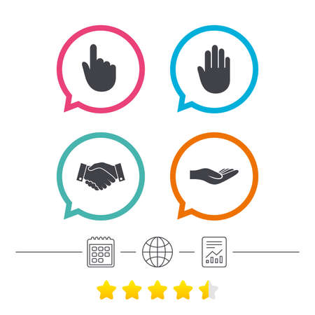 Hand icons. Handshake successful business symbol. Click here press sign. Human helping donation hand. Calendar, internet globe and report linear icons. Star vote ranking. Vector Illustration