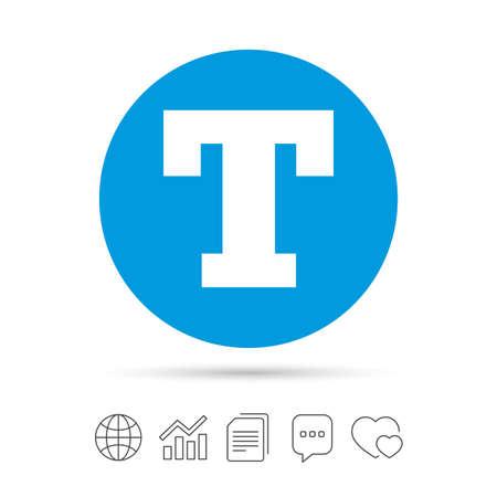 Icône de signe d'édition de texte. Lettre T bouton. Copier des fichiers, bulle de dialogue et des icônes web de graphique. Vecteur