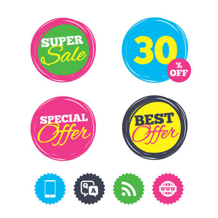 Super sale and best offer stickers. Question answer icon.  Smartphone and Q&A chat speech bubble symbols. RSS feed and internet globe signs. Communication Shopping labels. Vector