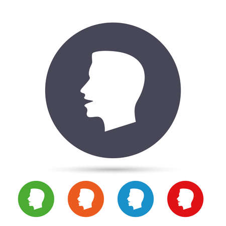 Talk or speak icon. Loud noise symbol. Human talking sign. Round colourful buttons with flat icons. Vector