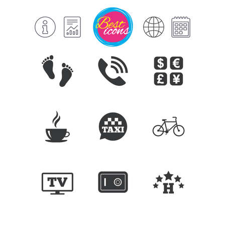 Information, report and calendar signs. Hotel, apartment services icons. Coffee sign. Phone call, kid-friendly and safe strongbox symbols. Classic simple flat web icons. Vector