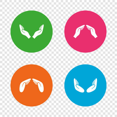 Hands icons. Insurance protection signs. Human helping donation hands. Prayer meditation hands sybmols. Round buttons on transparent background. Vector