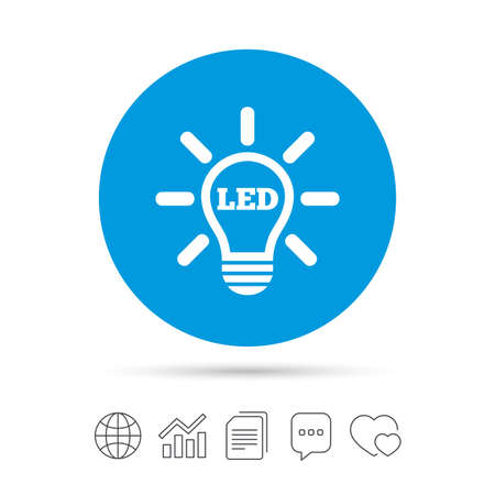 Led light lamp icon. Energy symbol. Copy files, chat speech bubble and chart web icons. Vector