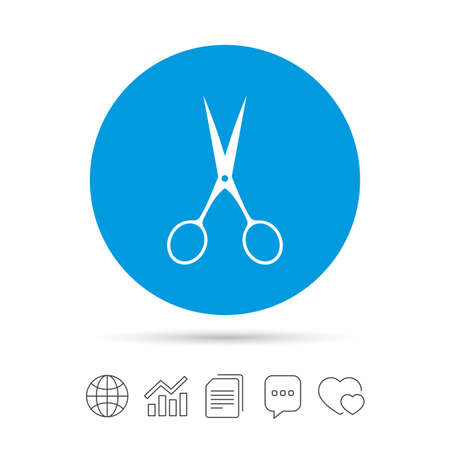 Scissors hairdresser sign icon. Tailor symbol. Copy files, chat speech bubble and chart web icons. Vector