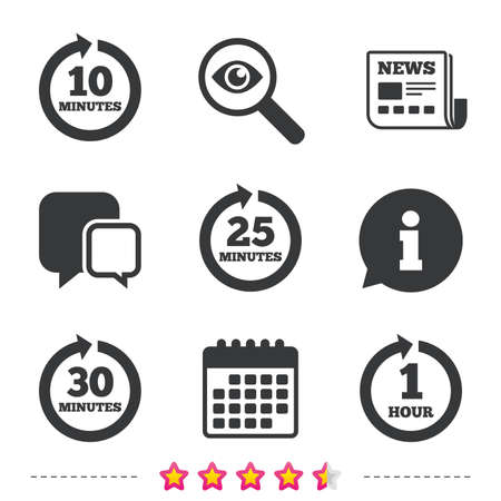 Every 10, 25, 30 minutes and 1 hour icons. Full rotation arrow symbols. Iterative process signs. Newspaper, information and calendar icons. Investigate magnifier, chat symbol. Vector Reklamní fotografie - 75103001