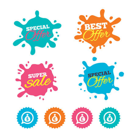 Best offer and sale splash banners. Money bag icons. Dollar, Euro, Pound and Yen speech bubbles symbols. USD, EUR, GBP and JPY currency signs. Web shopping labels. Vector Illustration