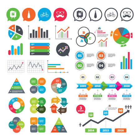 Business charts. Growth graph. Hipster photo camera with mustache icon. Glasses and tie symbols. Bicycle family vehicle sign. Market report presentation. Vector