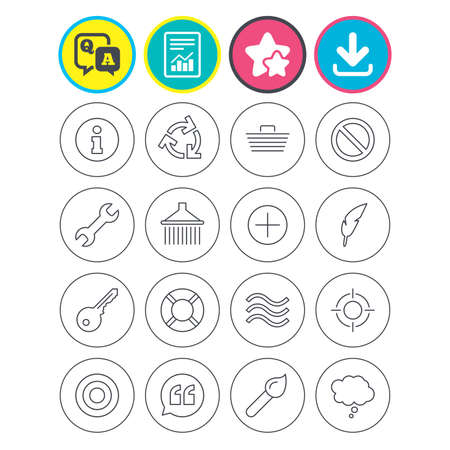 Report, download and star signs. Universal icons. Information, shopping basket and shower. Repair tool, home key and brush. Comic speech bubble, target aim and quotes. Vector
