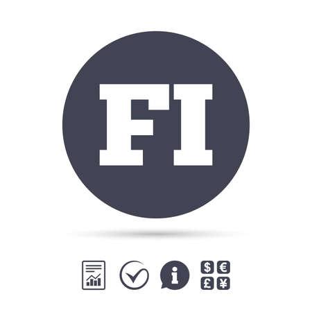 Finse taal teken pictogram. FI Finland vertaalsymbool. Rapporteer document, informatie en vink pictogrammen aan. Wisselkantoor. Vector