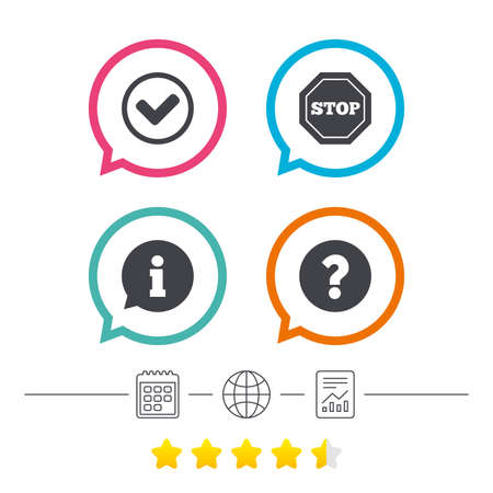 internet mark: Information icons. Stop prohibition and question FAQ mark signs. Approved check mark symbol. Calendar, internet globe and report linear icons. Star vote ranking. Vector