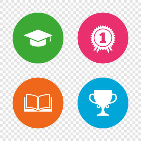 Graduation icons. Graduation student cap sign. Education book symbol. First place award. Winners cup. Round buttons on transparent background. Vector