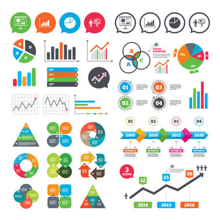 Business charts. Growth graph. Diagram graph Pie chart icon. Presentation billboard symbol. Supply and demand. Man standing with pointer. Market report presentation. Vector