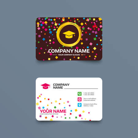 Business card template with confetti pieces. Graduation cap sign icon. Higher education symbol. Phone, web and location icons. Visiting card  Vector