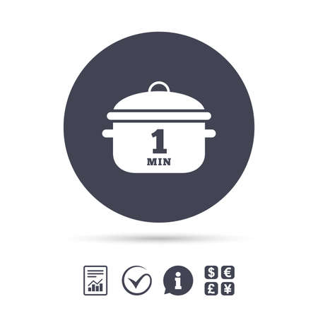 Boil 1 minute. Cooking pan sign icon. Stew food symbol. Report document, information and check tick icons. Currency exchange. Vector