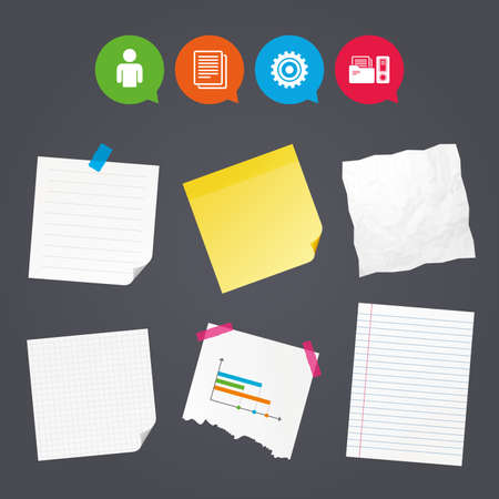 Business paper banners with notes. Accounting workflow icons. Human silhouette, cogwheel gear and documents folders signs symbols. Sticky colorful tape. Speech bubbles with icons. Vector