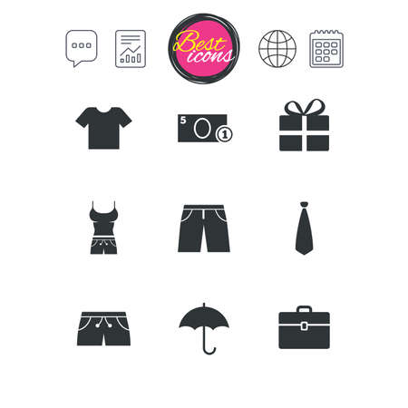 Chat speech bubble, report and calendar signs. Clothing, accessories icons. T-shirt, business case signs. Umbrella and gift box symbols. Classic simple flat web icons. Vector