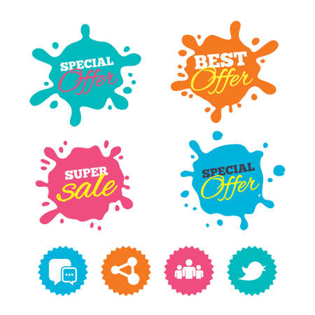 Best offer and sale splash banners. Social media icons. Chat speech bubble and Bird chick symbols. Human group sign. Web shopping labels. Vector Illustration