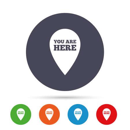 ここで記号のアイコンがあります。あなたの場所を持つ情報マップ ポインター。フラット アイコンと丸いカラフルなボタン。ベクトル 写真素材 - 75103568