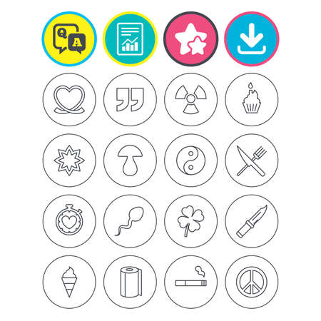 Report, download and star signs. Universal icons. Quotes, ribbon heart and cake. Clover, mushroom and ice cream. Smoking, knife and fork. Question and answer or Q&A symbol. Flat buttons. Vector