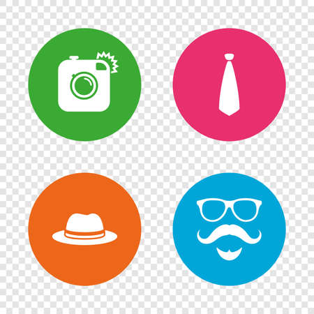 Hipster photo camera. Mustache with beard icon. Glasses and tie symbols. Classic hat headdress sign. Round buttons on transparent background. Vector