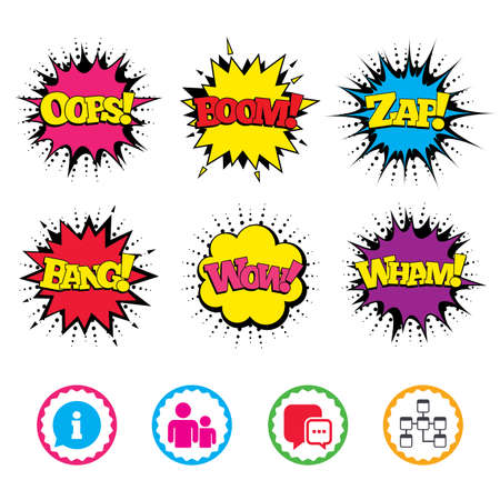 Comic Wow, Oops, Boom and Wham sound effects. Information sign. Group of people and database symbols. Chat speech bubbles sign. Communication icons. Zap speech bubbles in pop art. Vector Illustration