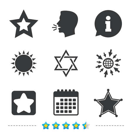 Star of David icons. Sheriff police sign. Symbol of Israel. Information, go to web and calendar icons. Sun and loud speak symbol. Vector Ilustração