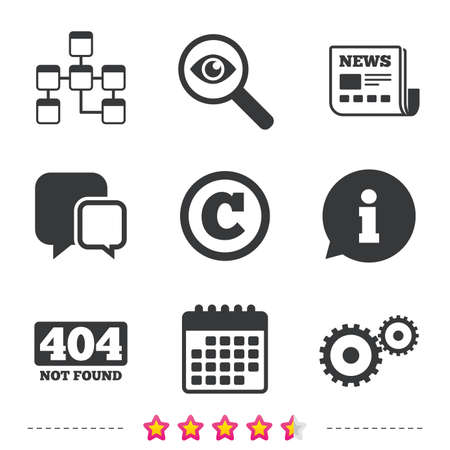 Website database icon. Copyrights and gear signs. 404 page not found symbol. Under construction. Newspaper, information and calendar icons. Investigate magnifier, chat symbol. Vector