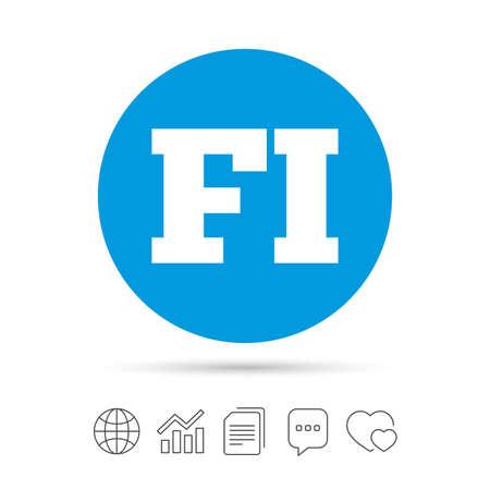 Finse taal teken pictogram. FI Finland vertaalsymbool. Kopieer bestanden, praat tekstballonnen en grafiek web iconen. Vector Stock Illustratie