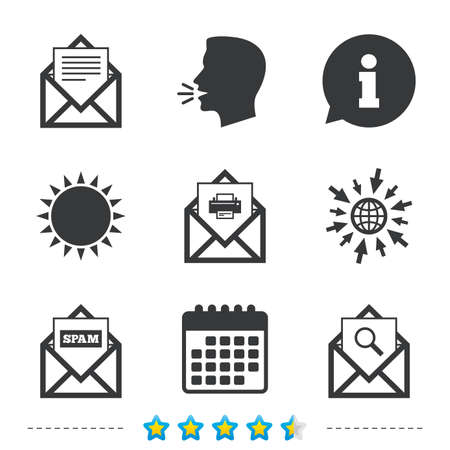 Mail envelope icons. Print message document symbol. Post office letter signs. Spam mails and search message icons. Information, go to web and calendar icons. Sun and loud speak symbol. Vector