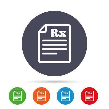 処方箋 Rx 記号アイコン。薬局や医療のシンボル。フラット アイコンと丸いカラフルなボタン。ベクトル  イラスト・ベクター素材