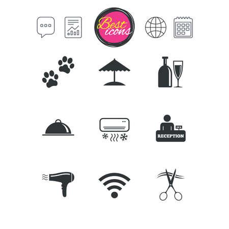 チャット音声バブル チャート、レポートおよびカレンダーのサイン。ホテル、アパートメント サービス ・ アイコン。Wifi インターネット看板。ペ  イラスト・ベクター素材