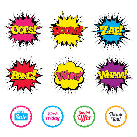 만화 와우, 웁스, 붐, 윙 사운드 효과. 판매 아이콘입니다. 특별 제공 및 기호 감사합니다. 선물 상자 기호입니다. 팝 아트 연설 거품. 벡터