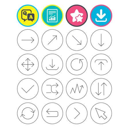 Informe, descarga y signos de estrella. Iconos de línea de flechas. Descargue, cargue, marque o marque símbolos. Actualizar, pantalla completa y mezclar los signos del contorno delgado. Pregunta y respuesta o símbolo de preguntas y respuestas. Botones planos. Vector