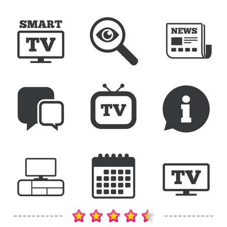 Smart TV mode icon. Widescreen symbol. Retro television and TV table signs. Newspaper, information and calendar icons. Investigate magnifier, chat symbol. Vector Illustration