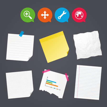 fullscreen: Business paper banners with notes. Magnifier glass and globe search icons. Fullscreen arrows and wrench key repair sign symbols. Sticky colorful tape. Speech bubbles with icons. Vector
