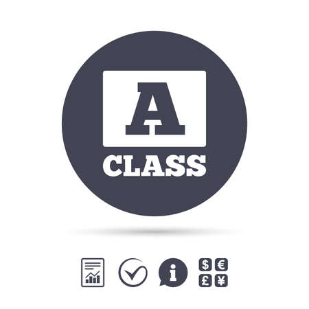 A-class icon. Premium level symbol. Energy efficiency sign. Report document, information and check tick icons. Currency exchange. Vector Illustration