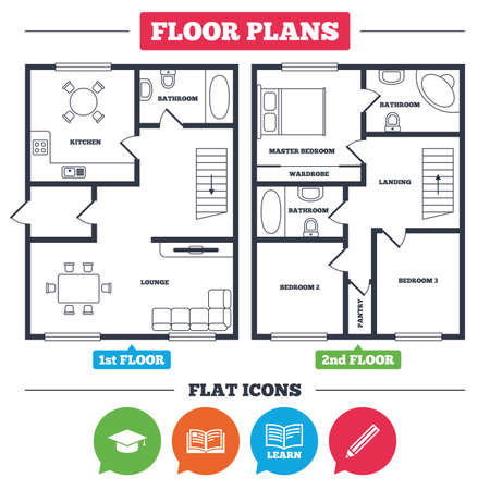 Architecture plan with furniture. House floor plan. Pencil and open book icons. Graduation cap symbol. Higher education learn signs. Kitchen, lounge and bathroom. Vector Ilustração