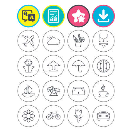 Report, download and star signs. Travel icons. Ship, plane and car transport. Beach umbrella, palms and cocktail. Swimming trunks. Rose or tulip flower. Question and answer or Q&A symbol. Flat buttons