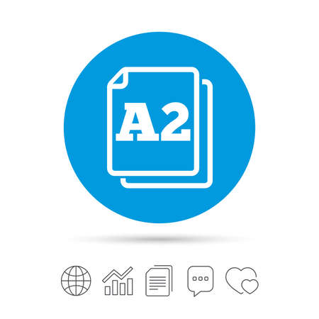 Paper size A2 standard icon. File document symbol. Copy files, chat speech bubble and chart web icons. Vector