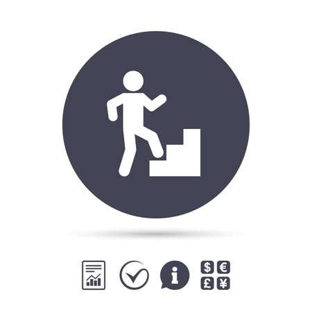 위층 아이콘입니다. 인간의 사다리에 산책입니다. 보고서, 정보 및 체크 틱 아이콘. 환전소. 벡터 일러스트