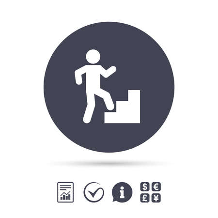 Upstairs icon. Human walking on ladder sign. Report document, information and check tick icons. Currency exchange. Vector Illustration