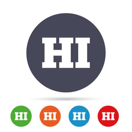 Hindi taal teken pictogram. HI India vertaalsymbool. Ronde kleurrijke knoppen met plat pictogrammen. Vector