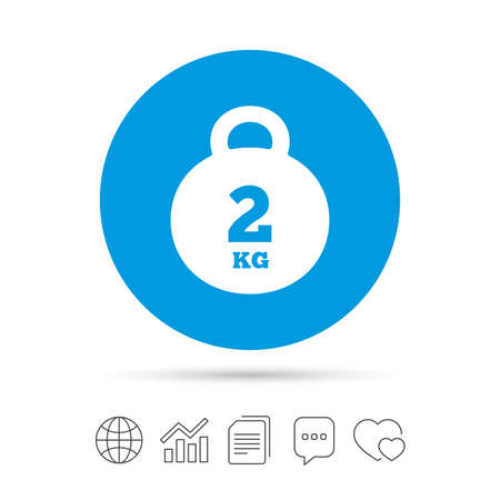 Weight sign icon. 2 kilogram (kg). Envelope mail weight. Copy files, chat speech bubble and chart web icons. Vector
