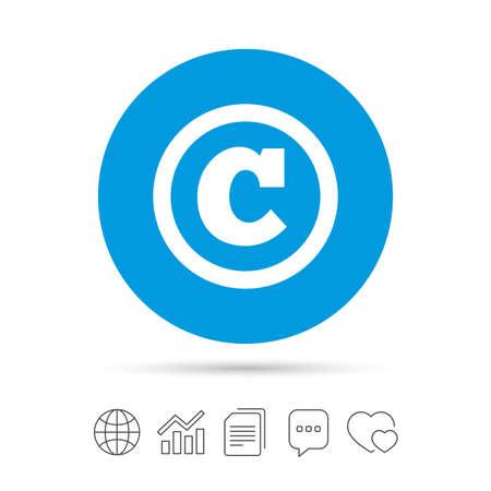著作権、著作権記号のアイコン。著作権のボタン。ファイルのコピー、音声バブルとグラフ web アイコンをチャットします。ベクトル  イラスト・ベクター素材